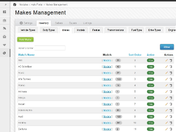 Backend - Makes Management Page