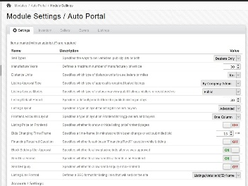 Backend - Module Settings Page