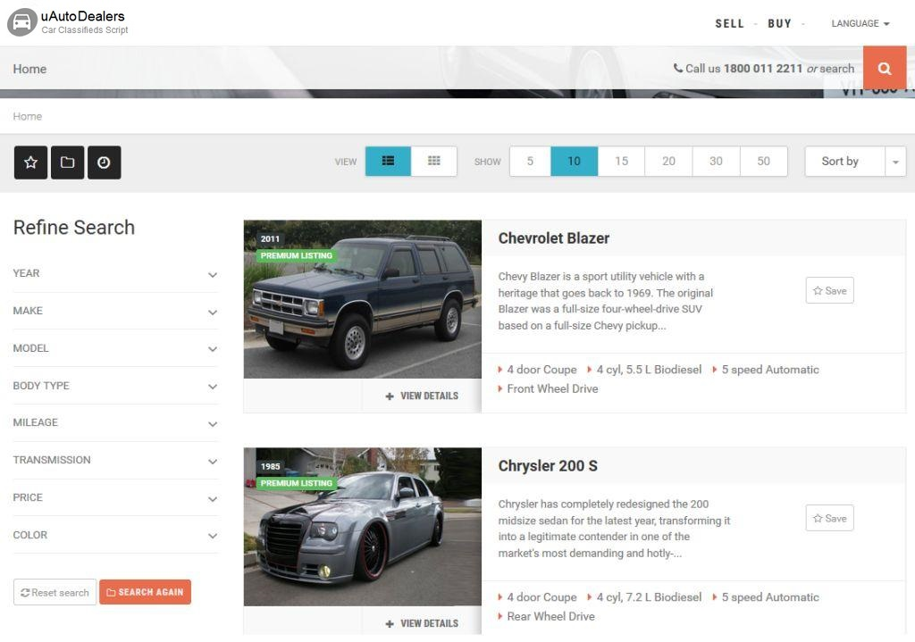 uAutoDealers - is a powerful car dealerships and auto classified website script